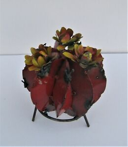 "SMALL METAL ART BARREL CACTUS SCULPTURE WITH FLOWERS 6"" DIAMETER RED"