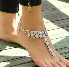 Charm Attached Toe Ring Slave Ankle Bracelet Anklet Statement Foot Jewelry