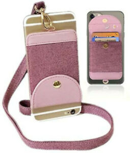 Pink 2 in 1 iPhone Necklace Holder & Credit Card Holder for iPhone Cell Phone