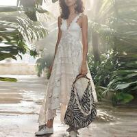 Women Causal Dress Exquisite V-neck Jacquard Asymmetric Lace  Zimmermann S/M/L