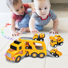 New Listing5P Vehicles Transport Truck Carrier Excavator Yellow Toys Cars Christmas Gifts