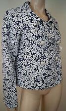 BURBERRY LONDON Navy Blue White Cotton Blend Floral Print Blazer Jacket UK10 US8