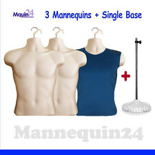 3 Pack Male Torso Body Dress Mannequin Forms Flesh 3 Hangers 1 Stand