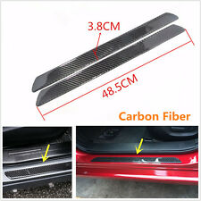 2Pcs Real Carbon Fiber Auto Car Scuff Plate Door Sill Cover Panel Step Protecors