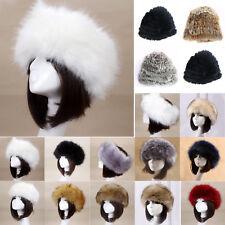 8412c680f9243b Women Russian Fluffy Rabbit Fox Faux Fur Hat Headband Winter Earwarmer Ski  Caps