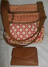 Fossil 2pc Set- Multi Color Canvas Hipster Crossbody Bag & Fossil Brown Wallet