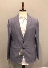 $1100 New Armani Collezioni Mens Blue Thin Cotton Blazer Jacket Size 40 US 50 IT