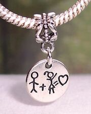 Boy Plus Girl Equals Love Couple Dating Dangle Charm for European Bead Bracelets