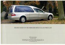 Mercedes-Benz E-Class Hearse MJ Limousines Specification 2004 UK Market Brochure