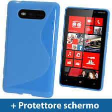 Blu Custodia Dual Tone TPU Gel per Nokia Lumia 820 Windows Cover Rigida