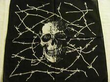WHITE  SKULLS AND BARBED WIRE  PRINT BANDANA IN  WHITE AND  BLACK  COTTON .