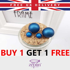 NAVY BLUE Double Sided Pearl Earring Faux Ear Studs Celebrity FASHION Birthday