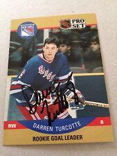 Darren Turcotte VINTAGE HAND SIGNED 1990 ProSet Rookie Card With COA
