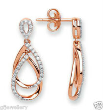 18CT HALLMARKED ROSE GOLD 0.33CT G/H SI1 DIAMOND PEAR SHAPE DROP EARRINGS