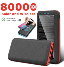 Solar Power Bank Qi Wireless Portable Outdoor phone Charger 80000mAh