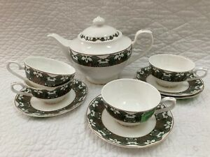 Teavana Green Gold Tea Set Teapot 4 Cups & Saucers Gold Trim Bone China
