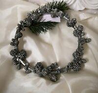Kranz Zapfen  Antik Silber Weihnachten  Shabby Vintage Landhaus Deko 15x2cm