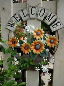 Metal Rustic Welcome Sunflower/Watering Can Garden Wall Hanging Sign Home Decor