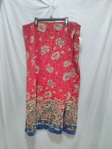Coldwater Creek Red Floral Wrap Skirt Elastic Waist Beige & Blue Flowers 2X New