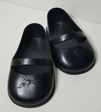 "Vintage 4 1/2"" Inch Black Plastic Large Doll Shoes Style Mary Janes"