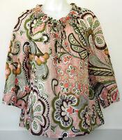 Ann Taylor Coral Brown Olive Paisley Peasant Boho 3/4 Sleeve Cotton Top Shirt 14
