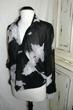 Black, Grey, Beige mix Animal Print sheer Top Size 14 NEW