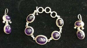 """925 Sterling Silver 925 Amethyst 7.5"""" bracelet w Earrings 2"""" Drop SET 47.5 grams"""