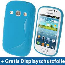 Blau S Line TPU Hülle Etui Tasche fürSamsung Galaxy Fame S6810 Android