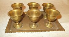 "6 Mini 2-3/8"" Brass Goblets (Shot Glass?) with tray scalloped edges"