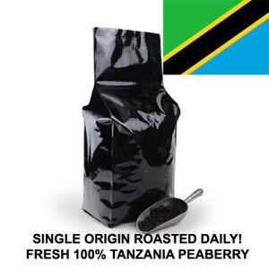 2 5 10 LB TANZANIA PEABERRY FRESH ROASTED COFFEE WHOLE BEAN, GROUND - ARABICA