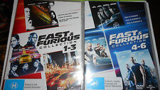FAST AND FURIOUS 1 TO 3 AND 4 TO 6 DVD SETS ,BRAND NEW SEALED