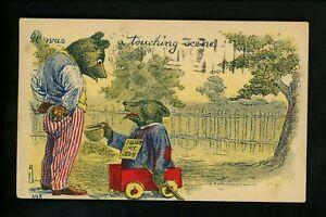 Teddy Bear Vintage postcard Anthropomorphic #248 Touching Scene handicap