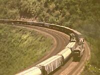 PRR Horseshoe Curve Two Trains Passing On curve. Excellant Slide