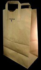 "Duro 12"" x 7""x 17"" (1/6 BBL) Brown Kraft Paper Handle Grocery Shopping Bag 75/PK"