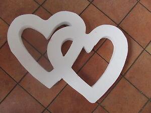 Styropor Herz  Doppelherzen ca. 55 cm Basteln Maiherz Liebe Hochzeit Deko