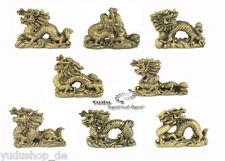 8 Set Dragón FIGURAS Feng Shui AMULETO DE LA SUERTE ORO