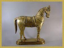 GRAND CHEVAL BOIS DORE GARNI DE LAITON, 35 cm,  Inde,horse