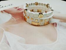 ROXANNE ASSOULIN Set Of Three White Enamel Gold Bracelet