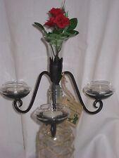 Wine Bottle Topper  Candelabra,3 Glass tealight Holders & a Glass Vase Included!