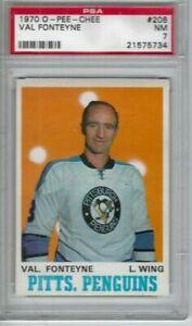 1970 OPC hockey card #208 Val Fonteyne Pittsburgh Penguins graded PSA 7