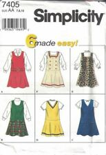 Simplicity Girls Flared Drop Waist Jumper 6 Variations #7405 Size 7-10 New Uncut