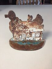 """Vintage Large Cast Iron Barn Scene Door Stop Bookend  9""""× 8"""" Farmhouse Country"""