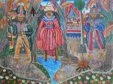 """Dambala Wedo ..."" by André Pierre - c. 1984 - Naive Haitian Art - 39 in x 29 in"
