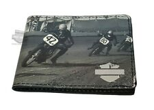 Harley-Davidson® Mens Flat Track Racing Motorcycles Black Leather Bifold Wallet
