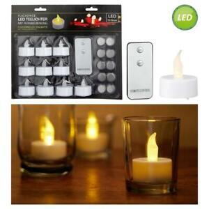 10x LED Teelichter mit Fernbedienung flackernd Kerzen Batterien Teelicht