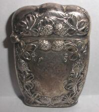 Antique Art Nouveau Sterling Silver Match Safe Case Vesta Repousse strawberry