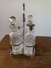 More details for antique silver plate & cut crystal condiment set, joseph elliott & sons 1890s.
