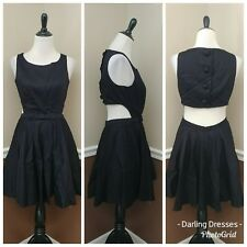 Short Black Party Dress L Open Back Sides Bow Modcloth Classic Twist Prom Formal