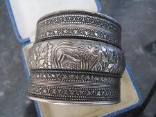 Indian Style White Metal Silver Tone Cuff Bracelet Bangle Lion Design
