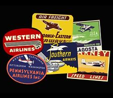 Travel Sticker Set, Golden Age of Travel Luggage Labels, 6 Steam Trunk Decals